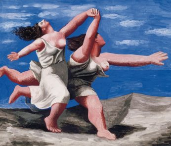 Deux femmes courant sur la plage (La course)