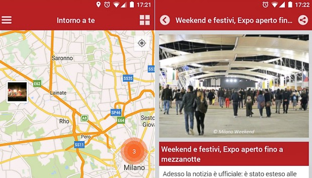 Milano Weekend app Android screen wide