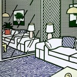 Roy Lichtenstein Wallpaper with blue floor interio