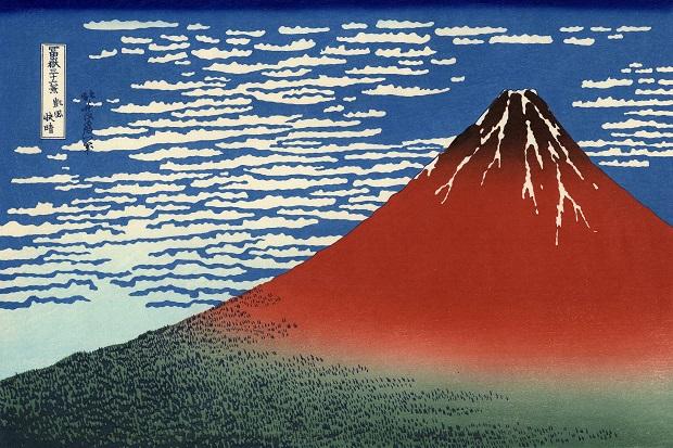 Katsushike Hokusai, Fuji Rosso (Giornata limpida col vento del Sud). Courtesy Honolulu Museum of Art